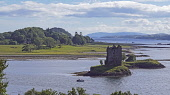 Castle Stalker, Loch Laich, near Oban, Highland Region, Scotland UK Dennis Barnes /Scottish Viewpoint uk,u.k,Great Britain,GB,G.B,Scotland,Scottish,nobody,daytime,outdoors,highlands,PANORAMA,evening,Castle,Stalker,Loch,Laich,Highland,Region,landscape,mountains,water