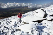 Hillwalking in Dumfries and Galloway in winter snow, Scotland Allan Devlin /Scottish Viewpoint uk,u.k,Great Britain,GB,G.B,Scotland,Scottish,1 person,outdoors,walk,walking,winter,snow,white,cairnsmore,of,fleet,galloway,hills,hillwalking,hillwalker,mountain,whiteout