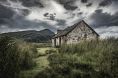 The isolated bothy at Lone, near Achfary in north west Sutherland, looking to Ben Stack Alan Gordon/Scottish Viewpoint National Scenic Area,SSSI,Scotland,Sutherland,atmospheric,bothy,clouds,cloudy,cottage,hills,hillwalking,house,isolated,landscape,lonely,mountaineering,mountains,nobody,remote,summer,wild,wilderness