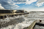 Heavy seas in the harbour at Helmsdale, Sutherland Alan Gordon/Scottish Viewpoint Firths,Helmsdale,Highlands,Moray Firth,North Coast 500,North Sea,Scotland,Sutherland,atmospheric,autumn,breakwater,dramatic,fishing,harbour,jetty,nobody,pier,quay,sea,stormy,sun,sunny,surf,waves,wind,