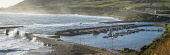 Heavy seas at the harbour, Helmsdale Alan Gordon/Scottish Viewpoint Firths,Helmsdale,Highlands,Moray Firth,North Coast 500,Scotland,Sutherland,atmospheric,autumn,bay,boat,bridge,coast,fishing,harbour,hills,jetty,landscape,mountains,nobody,panorama,panoramic,sea,stormy