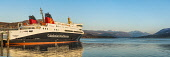 """CalMac ferry """"Loch Seaforth"""" at Ullapool Alan Gordon/Scottish Viewpoint Calmac,Loch Broom,Munro,North Coast 500,Ross and Cromarty,Scotland,Ullapool,Wester Ross,atmospheric,evening,ferry,harbour,hills,landscape,loch,mountains,nobody,panorama,panoramic,pier,roll-on roll-off"""