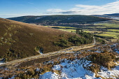 Glen Rinnes from above the car park for the walk up Ben Rinnes Alan Gordon/Scottish Viewpoint Ben Rinnes,Dufftown,Moray,atmospheric,car park,glen,hills,hillwalking,landscape,mountains,nobody,rural,snow,sun,sunny,trees,valley,walking,winter,woodland,woods