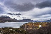Upper Loch Torridon and the Torridon hills from Bad Callda, Shieldaig Alan Gordon/Scottish Viewpoint Highlands,Munro,National Scenic Area,Ross and Cromarty,Scotland,Torridon,atmospheric,birch,clouds,cloudy,coast,croft,dramatic,hills,house,isolated,landscape,loch,mountains,nature,nobody,peaks,remote,s