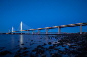 An evening view overlooking the Queensferry crossing Jason Baxter/Scottish Viewpoint uk,u.k,Great Britain,GB,G.B,Scotland,Scottish,nobody,night time,outdoors,architecture,bridge,cable-stayed,crossing,dusk,engineering,evening,firth,firth of forth,forth,forth bridges,highway,infrastruct