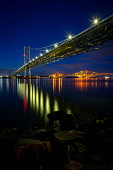 Night-time view overlooking the three Bridges on the Firth of Forth Jason Baxter /Scottish Viewpoint uk,u.k,Great Britain,GB,G.B,Scotland,Scottish,nobody,night time,outdoors,architecture,bridge,cable-stayed,crossing,dusk,engineering,evening,firth,firth of forth,forth,forth bridges,highway,infrastruct
