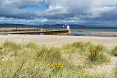 Nairn harbour, pier, dunes,  beach, Moray Firth,  Highland Region, Scotland UK Dennis Barnes/Scottish Viewpoint uk,u.k,Great Britain,GB,G.B,Scotland,Scottish,group,daytime,Nairn,pier,beach,Moray,sand,dunes,Firth,highlands,beaches,sandy,coast,coastal,coastline,water,sea