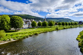 The River Tweed as it flows through the Scottish Borders town of Peebles, Scotland Andrew Wilson/Scottish Viewpoint uk,u.k,Great Britain,GB,G.B,Scotland,Scottish,1 person,daytime,outdoors,may,Peebles,River Tweed,Scottish Borders,spring,springtime,sunshine