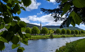 The River Tweed as it flows through the Scottish Borders town of Peebles, Scotland Andrew Wilson/Scottish Viewpoint uk,u.k,Great Britain,GB,G.B,Scotland,Scottish,nobody,daytime,outdoors,may,Peebles,River Tweed,Scottish Borders,spring,springtime,sunshine