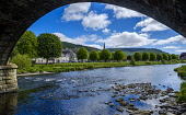 The River Tweed as it flows through the Scottish Borders town of Peebles, Scotland Andrew Wilson/Scottish Viewpoint uk,u.k,Great Britain,GB,G.B,Scotland,Scottish,nobody,daytime,outdoors,bridge,may,Peebles,River Tweed,Scottish Borders,spring,springtime,sunshine