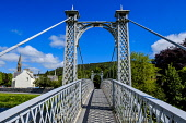 A footbridge over the River Tweed in the borders town of Peebles, Scotland Andrew Wilson/Scottish Viewpoint uk,u.k,Great Britain,GB,G.B,Scotland,Scottish,nobody,daytime,outdoors,footbridge,spring,springtime,sunshine,Scottish Borders,Peebles,River Tweed