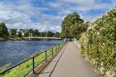 Looking down River Ness to Inverness city, Highlands, Scotland, UK Dennis Barnes/Scottish Viewpoint uk,u.k,Great Britain,GB,G.B,Scotland,Scottish,nobody,daytime,River,Ness,to,Inverness,city,suspension,bridge,sunny,peaceful,Highland,path,riverside,track,cities