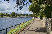 Looking down River Ness to Inverness city, Highlands, Scotland, UK Dennis Barnes/Scottish Viewpoint uk,u.k,Great Britain,GB,G.B,Scotland,Scottish,group,daytime,River,Ness,to,Inverness,city,suspension,bridge,sunny,peaceful,Highland,path,riverside,track,cities