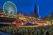 Edinburgh Christmas lights and festivities, Princes Street; gardens, Scotland, UK. Dennis Barnes/Scottish Viewpoint uk,u.k,Great Britain,GB,G.B,Scotland,Scottish,group,nightime,Edinburgh,city,Christmas,lights,festivities,Princes,Street,gardens,Lothian,xmas,market