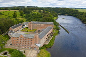 Aerial view of historic preserved Stanley Mills former cotton mills factory situated next to River Tay in Stanley, Perthshire, Scotland, UK Iain Masterton/Scottish Viewpoint Stanley Mills,Stanley perthshire,Scotland,Scottish,former cotton mill,old cotton mill,old factory,industrial buildings,preserved,museum,UK,United Kingdom,daytime,Britain,british,industrial heritage,hi