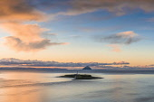 Sunrise over Pladda and Ailsa Craig from Kildonan, Scotland Allan Wright/Scottish Viewpoint uk,u.k,Great Britain,GB,G.B,Scotland,Scottish,nobody,daytime,outdoors,dawn,dramatic,sunrise,amber,colourful,golden,warm,ayrshire and arran,islets,island,sea,shore,lighthouse,arran,kildonan,ailsa craig
