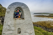 Stained glass shrine on the Isle of Canna, Inner Hebrides Allan Wright/Scottish Viewpoint uk,u.k,Great Britain,GB,G.B,Scotland,Scottish,nobody,daytime,outdoors,west coast,small isles,canna,hebridean,peaceful,restful,still,tranquil,shrine,coast,coastal,coastline,water,sea