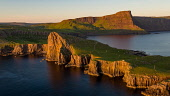 An aerial photograph of late evening light over the remote Neist Point  on the Isle of Skye, Scotland Jason Baxter /Scottish Viewpoint aerial,aerial photograph,beauty,cliff,cliffs,coast,coastal,dusk,evening light,isle of skye,neist point,peninsula,remote,rugged coastline,scenery,scenic,scotland,scottish,scottish coast,summer,sunset,t
