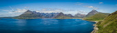 A multiple stiched panoramic photograph from Elgol overlooking the Cuillin Range on the Isle of Skye Jason Baxter /Scottish Viewpoint Black Cuillins,Cuillins,aerial,beauty,coast,coastal,coastline,drone,elgol,geography,isle of skye,landscape,mountainous,mountains,pagan,panorama,panoramic,remote,rugged,rugged coastline,rural landscape
