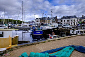 Fishing boats in the harbour in Stornoway, Isle of Lewis, Outer Hebrides, Scotland Andrew Wilson  /Scottish Viewpoint Isle of Lewis,Outer Hebrides,Scotland,Stornoway,boats,fishing,fishing fleet,fishing nets,fishing tackle,harbor,harbour,in harbour,tied up,tied-up,trawlers,scottish