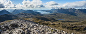 Upper Loch Torridon and the Torridon mountains from Beinn Liath Mhor (926m) Alan Gordon  /Scottish Viewpoint Beinn Alligin,Beinn Damh,Beinn Eighe,Corbett,Highlands,Liathach,Maol Chean-dearg,Munro,National Scenic Area,Ross and Cromarty,SSSI,Scotland,Torridon,atmospheric,boulders,cliff,crag,dramatic,glen,hills