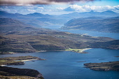 Loch Broom and Ullapool, with Loch Kanaird in the foreground, seen from Ben More Coigach in the Coigach hills Alan Gordon  /Scottish Viewpoint Ardmair,Coigach,Highlands,Loch Broom,Munro,National Scenic Area,Ross and Cromarty,Scotland,Ullapool,Wester Ross,atmospheric,autumn,bay,coast,fjord,hills,hillwalking,landscape,loch,mountaineering,mount