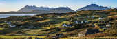 Tarskavaig, Isle of Skye, looking to the Cuillin hills and Bla Bheinn Alan Gordon  /Scottish Viewpoint Bla Bheinn,Corbett,Cuillin,Highlands,Islands,Munro,National Scenic Area,SSSI,Scotland,Skye,Sleat,Tarskavaig,atmospheric,autumn,coast,color,colour,croft,crofting,dramatic,evening,faming,field,hills,hou