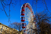 Edinburgh Christmas 2019: The big wheel in Princes Street Gardens attracts customers throughout the Christmas Season.  Editorial use only Andrew Wilson  /Scottish Viewpoint Christmas,Edinburgh's Christmas 2019,Xmas,entertainment,food,fun,fun fair,holiday season,princes street gardens,rides,shopping,stalls,street market,people