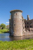 13th Century Caerlaverock Castle with moat, Dumfries & Galloway Scotland D.G.Farquhar  /Scottish Viewpoint Britain,Caerlaverock Castle,Castle,Dumfries & Galloway,GB,Scotland,United Kingdom,nobody,summer,historic,history,castles