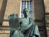 David Hume statue, Edinburgh Allan Wright  /Scottish Viewpoint united kingdom,edinburgh,scotland,lothians,capital city of scotland,auld reekie,classical,in memory,historic,philosophical,david hume,philosopher,high st,royal mile,monument,carving,figure,statue,nobo