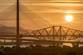 Sunrise with the three Forth Bridges at South Queensferry Allan Wright  /Scottish Viewpoint united kingdom,edinburgh,scotland,lothians,capital city of scotland,auld reekie,forth bridges,firth of forth,bridge,suspension bridge,public transport,engineering,colourful,travelling,motoring,transpo