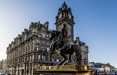 Duke of Wellington statue, Waterloo Place with Balmoral Hotel, Edinburgh Allan Wright  /Scottish Viewpoint united kingdom,scotland,lothians,capital city of scotland,auld reekie,balmoral hotel,waterloo place,b listed,hotel,spire,clocktower,monument,carving,figure,statue,architecture,city,street,duke of well
