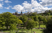 Princes St Gardens, Edinburgh Allan Wright  /Scottish Viewpoint united kingdom,edinburgh,scotland,lothians,capital city of scotland,auld reekie,sunny,blue sky,white,clouds,princes st gardens,the mound,ramsay gardens,st giles,people,park,trees,chilling,relaxing,sun