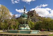 Restored Ross Fountain, Princes St Gardens, Edinburgh Allan Wright  /Scottish Viewpoint united kingdom,edinburgh,scotland,lothians,capital city of scotland,auld reekie,artistic,classical,elegant,graceful,ornate,restored,spectacular,victorian,turquoise,aquamarine,trees,shrubs,castle,statu