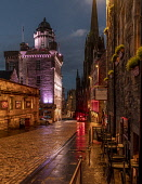Castlehill, top of Royal Mile, Edinburgh by night Allan Wright  /Scottish Viewpoint united kingdom,edinburgh,scotland,lothians,capital city of scotland,auld reekie,dusk,reflection,high st,royal mile,camera obscura,scotch whisky heritage centre,old town,the mound,shops,architecture,st
