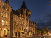 Tolbooth, Canongate, Royal Mile, Edinburgh by night. Allan Wright  /Scottish Viewpoint united kingdom,edinburgh,scotland,lothians,capital city of scotland,auld reekie,dusk,damp,moody,wet,ambient light,atmospheric,tolbooth,royal mile,canongate,old town,b listed,spire,clocktower