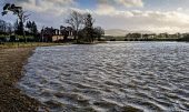 Storm Ciara causes the River Clyde to burst its banks in South Lanarkshire causing wide spread flooding on roads and fields. Andrew Wilson /Scottish Viewpoint Flood,Flooding,Storm Ciara,heavy rain,weather,weather picture,River Clyde,South Lanarkshire,Scotland,winter scene,winter landscape