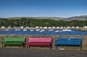 Coloured benches, Millport, Great Cumbrae Allan Wright  /Scottish Viewpoint blue sky,bright,pretty,peaceful,sunset,summer,tranquil,blue,colourful,bay,sea,island,great cumbrae,millport,united kingdom,firth of clyde,scotland,bench,sailing boat,marina,harbour,coastal path,boats,