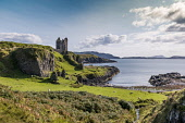 Gylen Castle, Isle of Kererra, Oban Allan Wright  /Scottish Viewpoint blue sky,bright,sunny,summer,warm,white,clouds,blue,green,sea,island,bay,historic,romance,highland,ruins,castle,tower house,oban