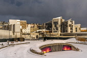 Scottsh Parliament in snow Allan Wright  /Scottish Viewpoint united kingdom,edinburgh,scotland,lothians,capital city of scotland,auld reekie,holyrood,scottish parliament,scottish government,architecture,parliament,buildings,city,freezing,cold,snow,winter,govern