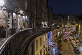 Busy Victoria Street by night, Edinburgh Allan Wright  /Scottish Viewpoint united kingdom,edinburgh,scotland,lothians,capital city of scotland,auld reekie,ambient light,atmospheric,classical,victorian,city,street,street light,cars,victoria street,west bow,old town,nightime,b