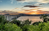 Tay Road Bridge, Dundee city, Tay Estuary Allan Wright /Scottish Viewpoint United Kingdom,scotland,angus,dundee,urban,river tay,tay estuary,tay road bridge,newport on tay,dusk,sunset,setting sun,amber,golden,orange,warm,colourful,bridge colums,supports,bridge,pillars,city,ci