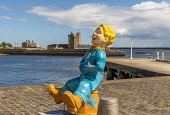 Broughty Ferry Castle with oor wullie installation   Editorial Use only Allan Wright /Scottish Viewpoint United Kingdom,scotland,angus,dundee,urban,oor wullie,the broons,owbbt,urban art,art installation,sculpture,music culture arts,sponsorship,dc thomson,broughty ferry castle,castle