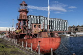North Carr historic lightship, Victoria Dock, Dundee Allan Wright /Scottish Viewpoint United Kingdom,scotland,angus,dundee,urban,tay estuary,victoria dock,barge,lightship,boats,boat,broughty ferry castle,north carr,museum