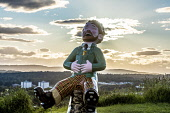 view from observatory of Dundee city With Oor Wullie installation  Editorial Use only Allan Wright /Scottish Viewpoint United Kingdom,scotland,angus,dundee,urban,oor wullie,the broons,owbbt,urban art,art installation,sculpture,music culture arts,sponsorship