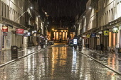 Shiny wet street scene, Reform st Dundee. Allan Wright /Scottish Viewpoint United Kingdom,scotland,angus,dundee,urban,dundee high school,reform street,damp,dark,dusk,wet,reflection,street,street light,buildings,architecture,pillars,night,artificial light,shiny,city,cities