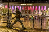 Desperate Dan and Dawg sculpture, Dundee city centre Allan Wright /Scottish Viewpoint United Kingdom,scotland,angus,dundee,urban,caird hall,ambient light,atmospheric,nightime,colourful,dusk,night,artificial light,street light,desperate dan,sculpture,art installation,street,urban art,ar