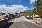 Looking to Ballater village from Victoria Bridge, Ballater, Aberdeenshire, Scotland UK Dennis Barnes /Scottish Viewpoint Victoria,Bridge,Ballater,spring,Aberdeenshire,Scottish,UK,United Kingdom,village,royal,deeside,people