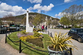 Ballater village centre, green, war, memorial, spring, Aberdeenshire,  Scotland UK Dennis Barnes /Scottish Viewpoint Village,green,centre,Ballater,spring,flowers,war,memorial,Aberdeenshire,Scottish,UK,United Kingdom,people,royal,deeside,villages