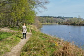 Deeside way, beside River Dee at Banchory, Aberdeenshire,  Scotland UK Dennis Barnes /Scottish Viewpoint River,Dee,Deeside,Way,near,Banchory,Aberdeenshire,landscape,Scottish,UK,United Kingdom,Travel,heritage,1 person,walk,walking,walker,walkers,bank,path,trail